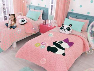 Juego De Cortinas Panda Corazones Vianney Envio Gratis