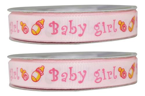 Imagen 1 de 3 de Listón Popotillo Estampado Baby Shower, 2 Piezas,bb2-p