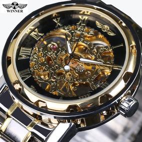 Relógio Winner Skeleton Luxo Mecânico Romano Borda Preta