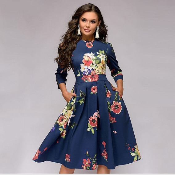 Vestido Impresión Floral Vendimia Mujeres