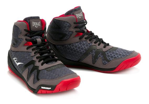 Zapatillas Para Boxeo Corte Bajo Gris Y Rojo - Everlast