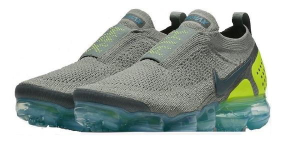 Tênis Nike Vapormax Moc 2.0 Sem Cadarço Cinza Com Verde