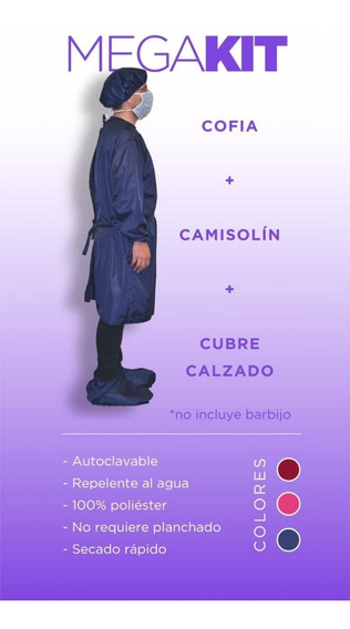 Kit Sanitario Lavable Reutilizable Cofia Camisolin Cubrebota