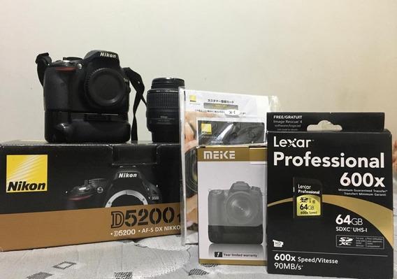 Nikon D5200 E 18-55mm 3.5 Com Grip E 64gb