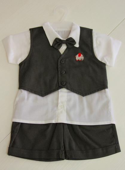 Conjunto Social Bebê Camisa, Bermuda,colete Preto Risca Giz