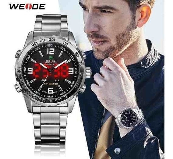 Relógio Masculino Weide Analógico Digital Display Led