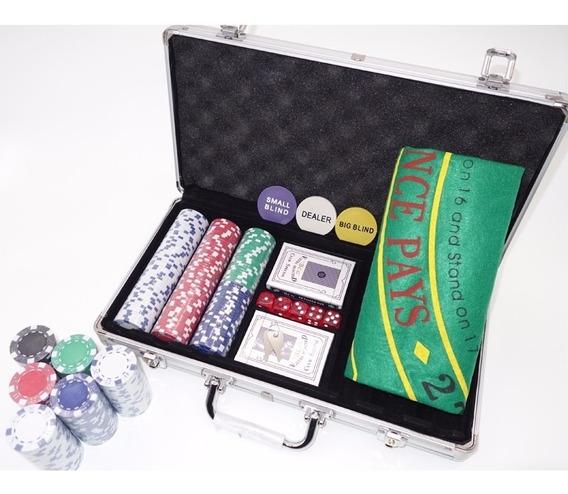 Maleta Poker 300 Fichas Sem Numeração Kit Completo