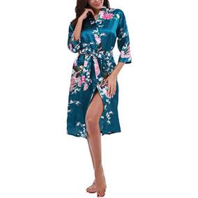 Fisoul Kimono De Satén Para Mujer Robe Floral