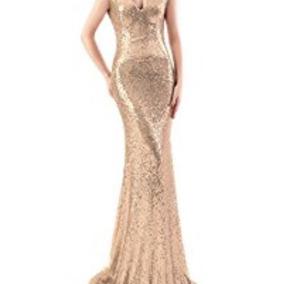 Vestido Gala Dorado Talla S-m