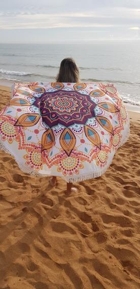 Canga Redonda Mandala Franja Saída De Praia Moda Praia