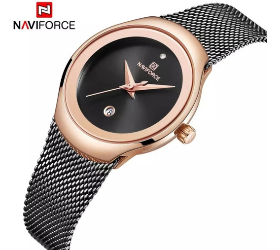 Relógio De Pulso Feminino Naviforce Luxo Super Slim Prova D