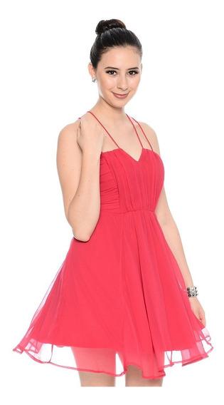 Vestido De Gasa Color Cereza Importado