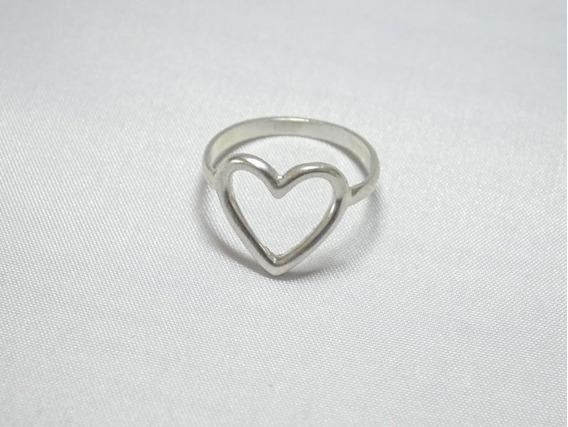 Anel Coração Vazado - Prata 925 - 12x Sem Juros