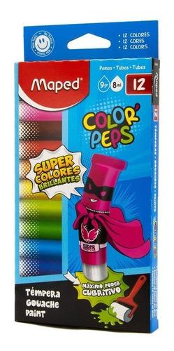 Imagen 1 de 4 de Temperas Pintura Maped Color Peps X12 Colores Brillantes