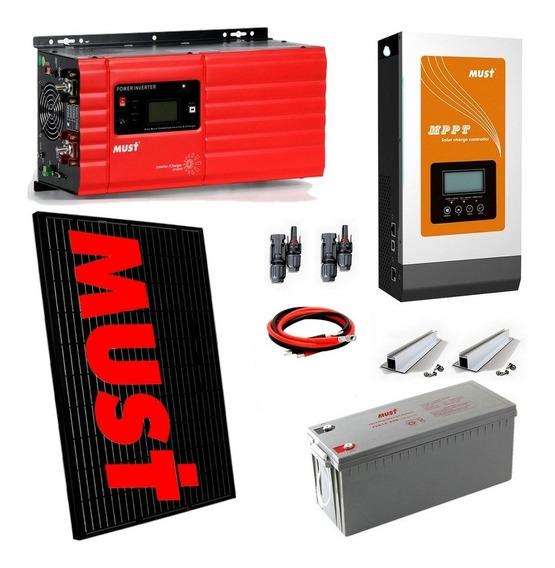 Kit Solar Completo Equipado Con Paneles -genera 7.300w/dia Mppt - Apto Motor 2hp - Batería 100ah - E30-6