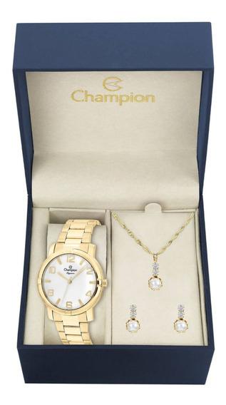 Relógio Champion Dourado Feminino+ Colar E Brincos (kit)