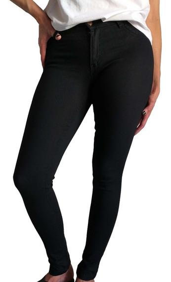Jean Mujer Chupin Tiro Alto Elastizado Negro Talles Grandes
