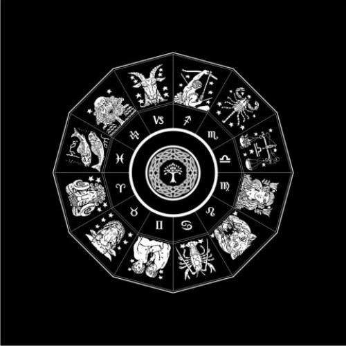 Toalha P/ Tarô Tarot Zodíaco Preto - Eg001-8