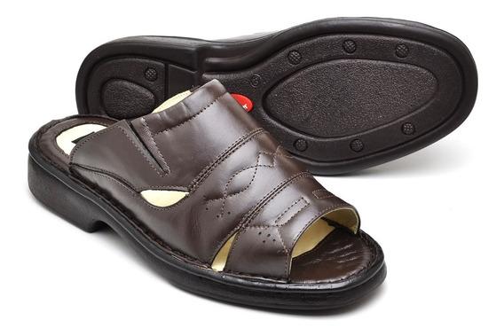 Chinelo Sandália Confort De Couro Bem Macia E Confortável