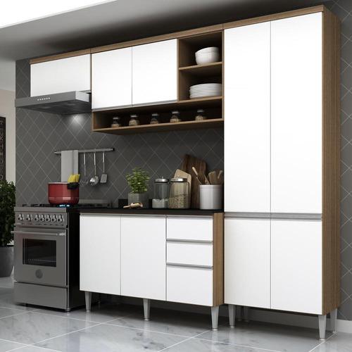 Cozinha Completa Multimóveis Suíça 5195ml Com Balcão 10 Pts