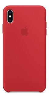 Forro Original Apple Silicon iPhone Xs Max Rojo