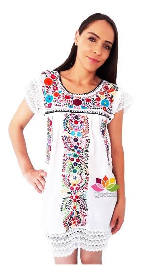 Vestido Dama Artesanal Mexicano Bordado A Mano Con Encaje