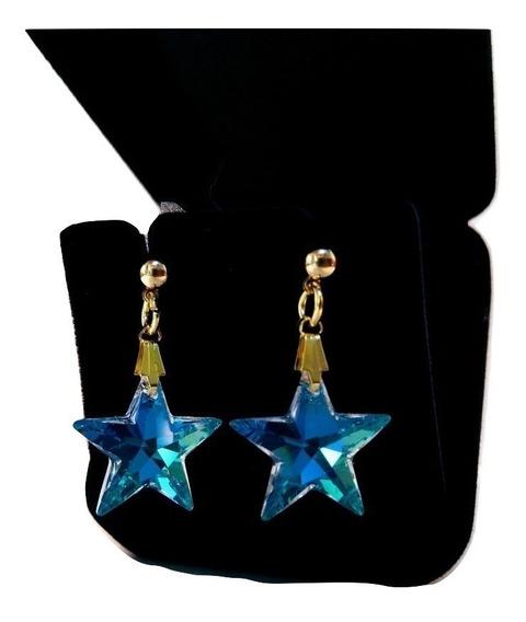 Brincos Estrela Cristal Swarovski Blue Ab Folheado A Ouro