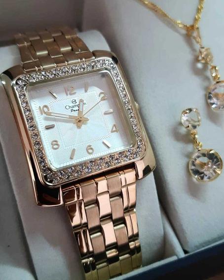 Relógio Champion Feminino Quadrado + Colar E Brinco Cn28606w