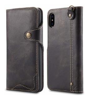 iPhone Xs Max Funda,bpowe Ultra Slim Genuine Leather Funda C