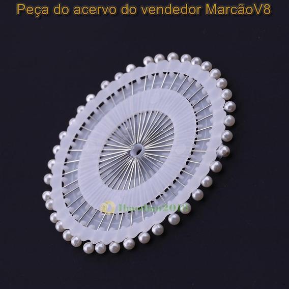 Kit Com 40 Alfinetes Brancos Para Costura Bordado Artesanato