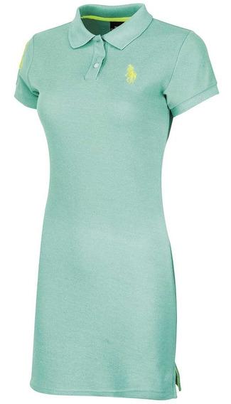 Vestido Polo Hpc Verde *chi Detalle La Costado T1