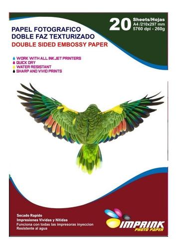 Papel Fotografico Doble Faz Textura Cuero A4/20 Hojas