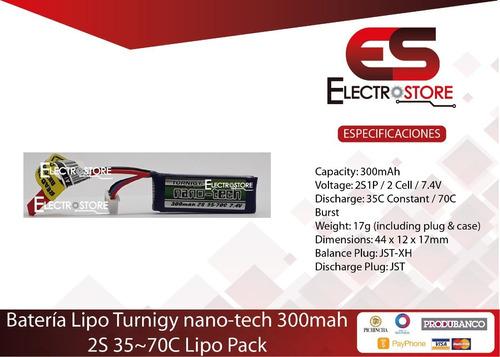 Batería Lipo Nano-tech 2s 7,4v 300mah 35-70c Robot Seguidor