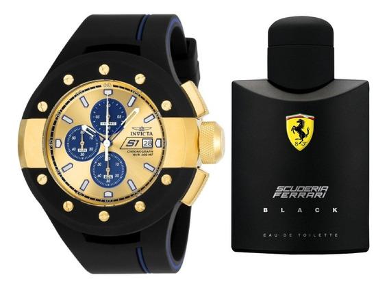 Rélogio Invicta Rally 22438 Brinde Perfume Ferrari Black