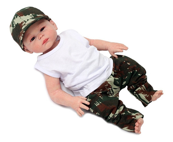 Roupa De Bebê - Conjunto Camuflado Com Boné Bebê Menino