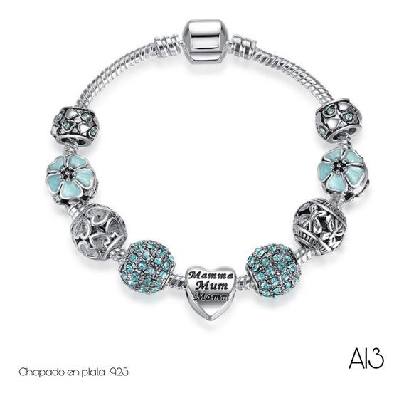 Hermosa Pulsera Tipo Pandora Incluye Todos Charms Color Azul