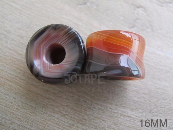 Alargador 16mm Pedra Natural Ágata (par)