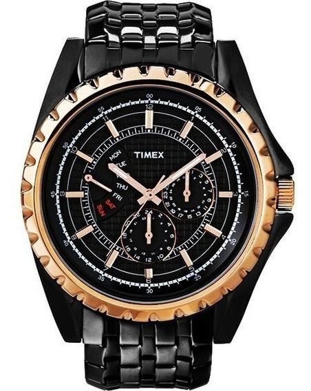 Timex Ti2n112p Relogio Negro E Dourado Elegante Retrô Vintage Grande