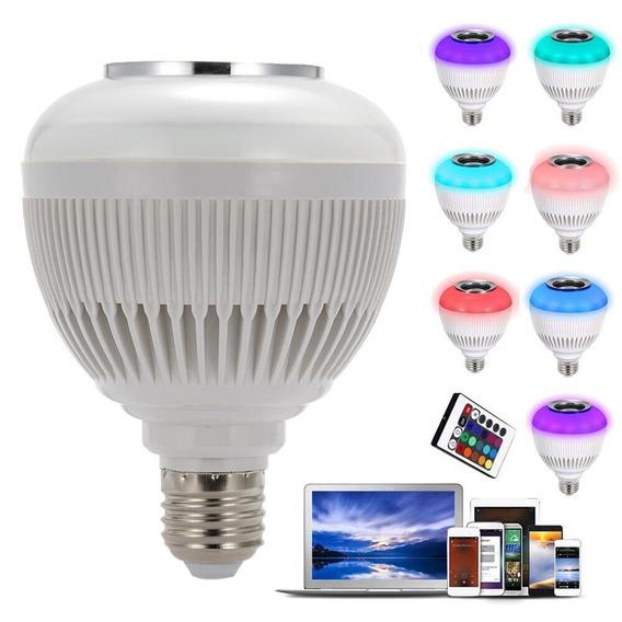 Kit 5 Mp3 Lâmpada Led 6w Rgb Caixa Som Bluetooth Music Bulb
