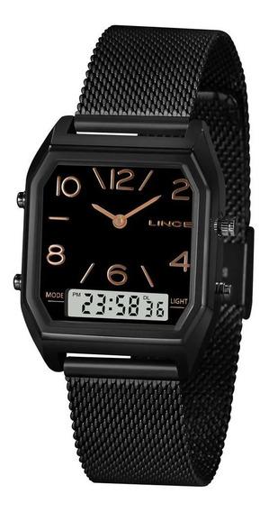 Relógio Feminino Lince Preto Anadigi Pulseira Mesh + Nf
