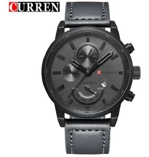 Relógio Pulso Original Masculino Curren Militar 8217 Couro
