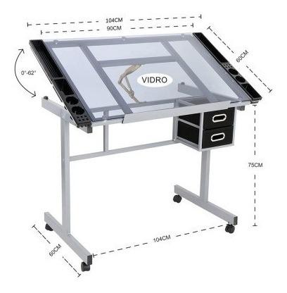 Mesa Para Desenho Profissional Tampo Em Vidro Sinoart Glass