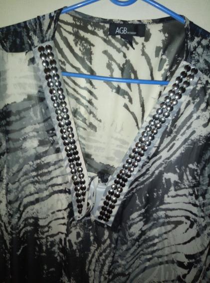Camisa 3/4 De Dama Nueva Negro Gris Blanco