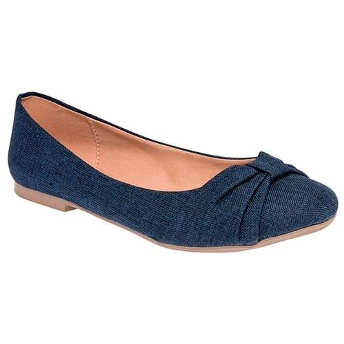 Dtt Zapatos Fiesta Flats Caramel Dama Textil Azul 27938