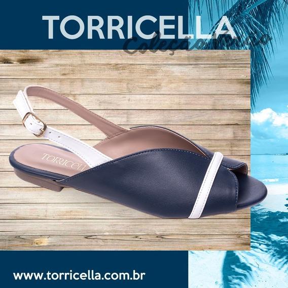 Sandália Rasteira Feminina Torricella Marinho E Branco