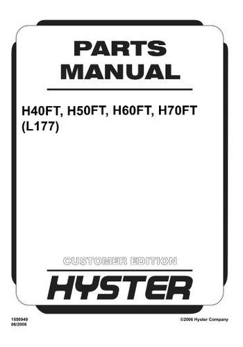 Manual Pecas Empilhadeira Hyster H40 50 60 H70ft  L177 Pg724