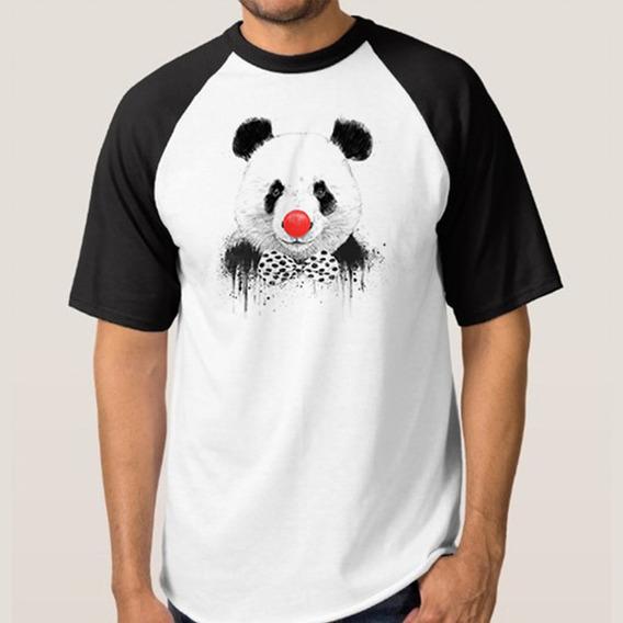 Camiseta Mescla Branca Com Manga Preta Panda Palhaço