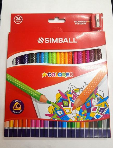 Lapices De Colores Simball No Toxicos X 24 Full