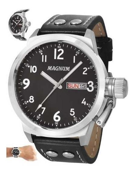 Relógio Masculino Pulseira De Couro Ma32774t - Mega Oferta