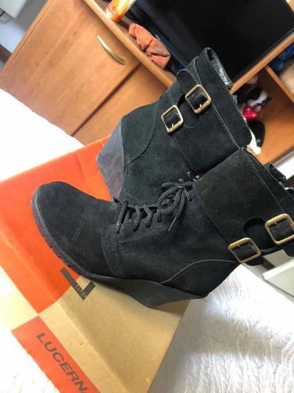 Zapatos Mujer Botas T37 Nuevas Gamuza C/hebilla